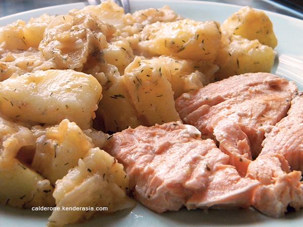 salmone con patate all'aneto